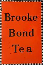 "1950s/60s enamel ADVERTISING SIGN 'Brooke Bond Tea'. Size: 20"" x 30"" (51cm x 76cm). In very good"