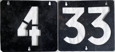 Pair of LCC/London Transport Tramways ROUTE NUMBER STENCIL PLATES '4' and '33'. These are the