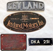 Selection (4) of BUS PLATES comprising a Leyland cast-alloy radiator badge, a 1930 Leyland Motors