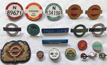 Quantity (20) of 1950s-70s (mainly) London Transport/London Country UNIFORM BADGES etc from the