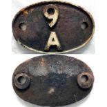 British Railways (Midland Region) cast-iron LOCOMOTIVE SHEDPLATE 9A used by Longsight (Manchester)