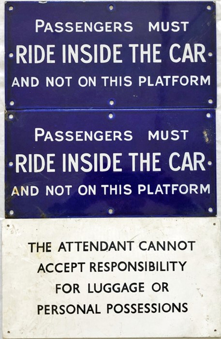 """Pair of ENAMEL SIGNS, thought to be Mersey Railway, """"Passengers must ride inside the car and not"""