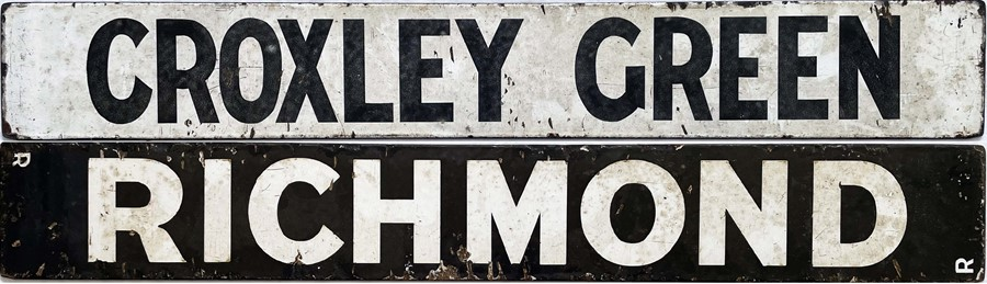Enamel TRAIN DESTINATION PLATE 'Croxley Green/Richmond' (double-sided), believed to be from a