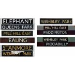 Selection (7) of London Underground CAB DESTINATION BOARDS, some double-sided. These are all