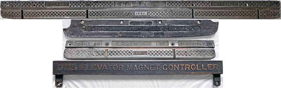 Selection (4) of London Underground hardware items comprising 3 x cast-alloy DOOR TREADPLATES with
