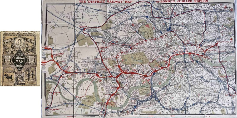 1887 District Railway MAP OF LONDON, Jubilee Edition, produced for Queen Victoria's golden