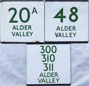 Trio of London Transport bus stop enamel E-PLATES for Alder Valley services, comprising routes