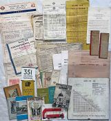 Bundle of LONDON TRANSPORT EPHEMERA, 1930s-1970s, including tram and bus fare-charts, e-plate for