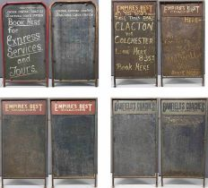 Selection of 4 COACH EXCURSION DISPLAY BOARDS as used outside booking offices and in front of parked