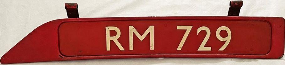 London Transport Routemaster bonnet FLEETNUMBER PLATE from RM 729. The original RM 729 entered