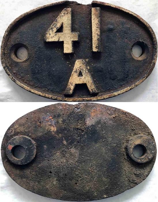 British Railways (Midland Region) cast-iron LOCOMOTIVE SHEDPLATE 41A used by Sheffield (Darnall)