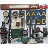 Box of mainly London Underground RELICS including A/D-end plates, grab handles, pressure gauges,