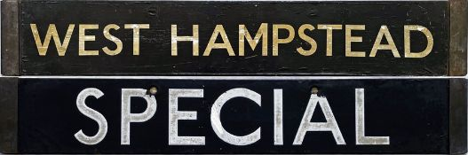 London Underground 1938-Tube Stock enamel CAB DESTINATION PLATE for West Hampstead / Special on