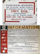 Pair of bus NOTICE PLATES comprising a Middlesborough Corporation enamel 'Own Risk..' plate as