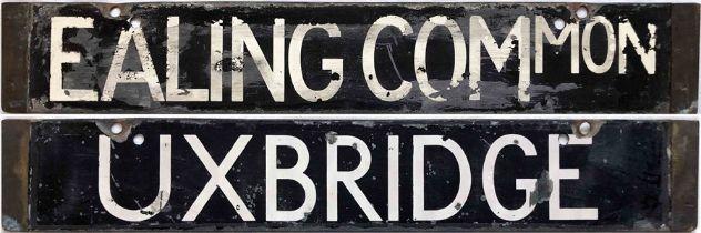 London Underground Standard or 38-Stock CAB DESTINATION PLATE Ealing Common / Uxbridge on the
