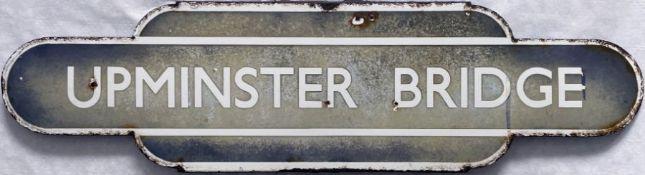 British Railways (Eastern Region) enamel STATION TOTEM SIGN from Upminster Bridge, opened in 1934 by