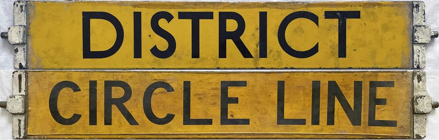London Underground O/P/Q-Stock enamel CAB DESTINATION PLATE reading 'District' on one side and '
