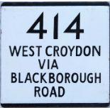 London Transport bus stop enamel E-PLATE for route 414 destinated West Croydon via Blackborough