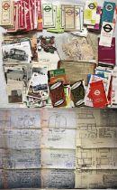 Boxful of mainly London Transport EPHEMERA including pocket maps (Underground, bus etc), leaflets,
