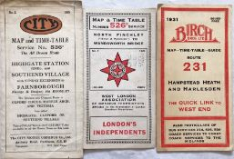 Selection (3) of 1920s/30s London independent bus operators' TIMETABLE LEAFLETS comprising No 2,