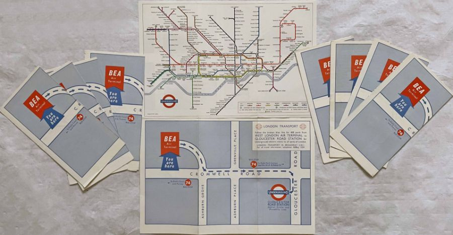 Quantity (10) of the c1965 special edition of the London Underground diagrammatic POCKET MAP, a