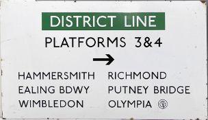 London Underground c1970s enamel PLATFORM DIRECTION SIGN from Earl's Court Station 'District Line,