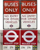 Pair of London Transport double-sided enamel BUS SIGNS comprising 'Buses Only - No Entry for other