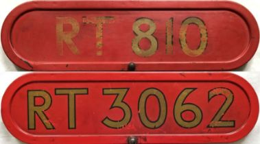 Pair of London Transport RT-type bus BONNET FLEETNUMBER PLATES from RT 810 and RT 3062. The first RT
