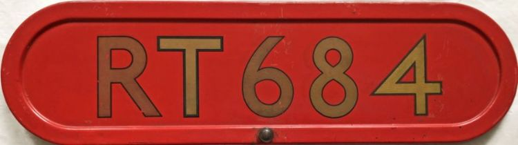 London Transport RT-type bus BONNET FLEETNUMBER PLATE from RT 684. The original RT 684 (a '