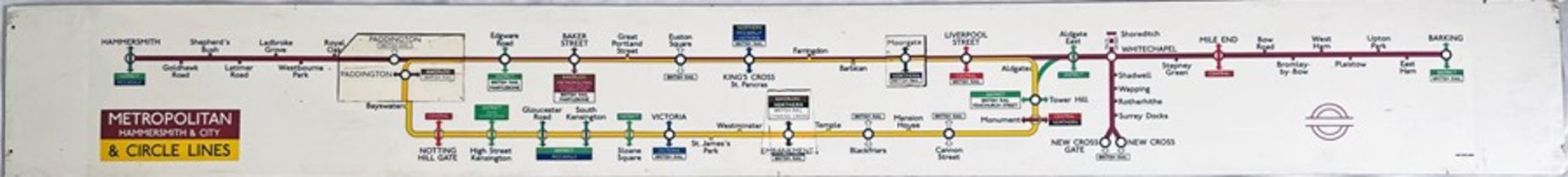 1969 London Underground CAR LINE DIAGRAM for the Metropolitan (Hammersmith & City) and Circle Lines.