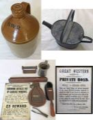 Quantity (10) of Great Western Railway items, mostly so marked and including a large stoneware