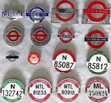 Selection (16) of London Transport etc UNIFORM CAP & LAPEL BADGES incl LGOC lapel badge, 'Publicity'