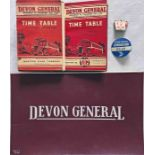 Selection (8 items) of Devon General Omnibus & Touring Co Ltd items comprising 5 x 1940s TIMETABLE