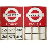 London Transport enamel BUS STOP FLAG (Request) with E-PLATES. A 1950s/60s 'bullseye'-style, E6-