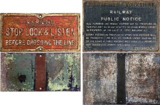 Pair of railway CAST-IRON SIGNS comprising a Lancashire & Yorkshire Railway 'Trespass' sign (size: