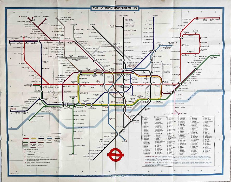 c1979 London Underground quad-royal POSTER MAP designed by Paul E Garbutt. Shows the original