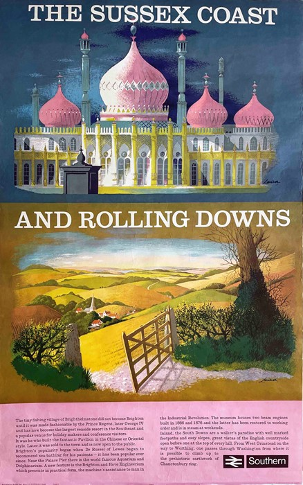 1980 British Rail (Southern Region) double-royal POSTER 'The Sussex Coast and Rolling Downs' by