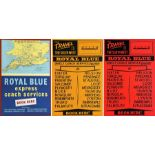 Selection (3) of 1960s Royal Blue Coaches double-crown POSTERS comprising 'Express Coach