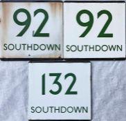 Trio of London Transport bus stop enamel E-PLATES for Southdown services, comprising routes 92 x 2