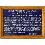 Great Western Railway (GWR) fully titled enamel TRESPASS NOTICE complete with original frame.