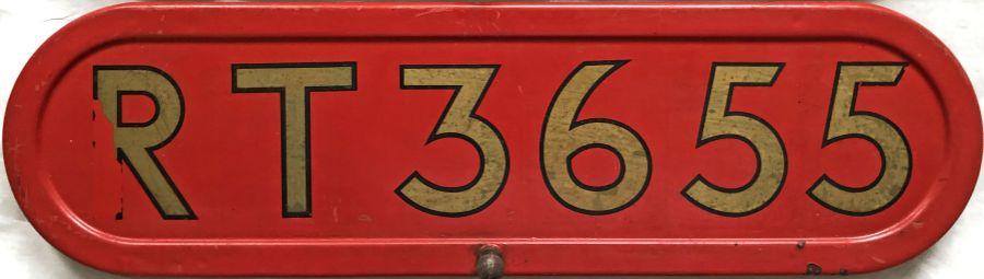 London Transport RT-type bus BONNET FLEETNUMBER PLATE from RT 3655. The original RT 3655 (a green '