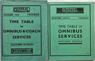 Pair of 1930s General Country Services/General - London Transport TIMETABLE BOOKLETS comprising