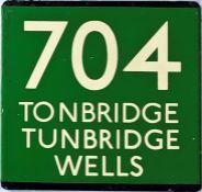 London Transport coach stop enamel E-PLATE for Green Line route 704 destinated Tonbridge,