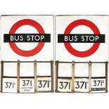 London Transport enamel BUS STOP FLAG (Compulsory) with E-PLATES. A 1950s/60s 'bullseye'-style, E6-