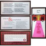 Selection (4) of London Underground CAR CARD PANELS, each mounted and glazed in a railway carriage-
