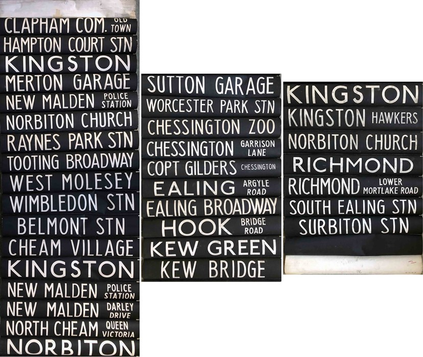 London Transport RT bus DESTINATION BLIND from Norbiton (NB) garage dated 25.10.71 and coded 'V' for