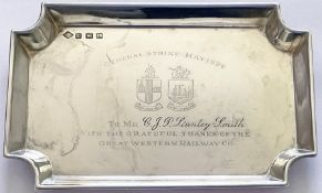 Great Western Railway sterling silver MINIATURE TRAY with GWR twin-shield coat of arms and