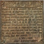 """London & North Western & Great Western Joint Railway cast-iron """"PROPPING UP"""" WARNING SIGN ('the"""