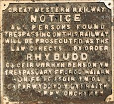 Great Western Railway (GWR) dual-language (English & Welsh), cast-iron TRESPASS NOTICE SIGN.