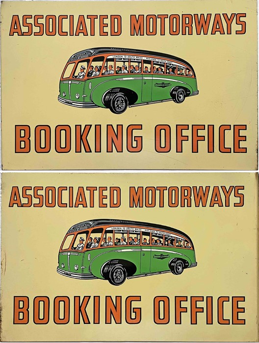 1950s Associated Motorways BOOKING OFFICE SIGN featuring an illustration of a coach packed with